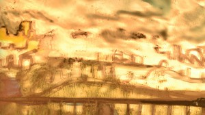 Landschaft Nebel Brücke
